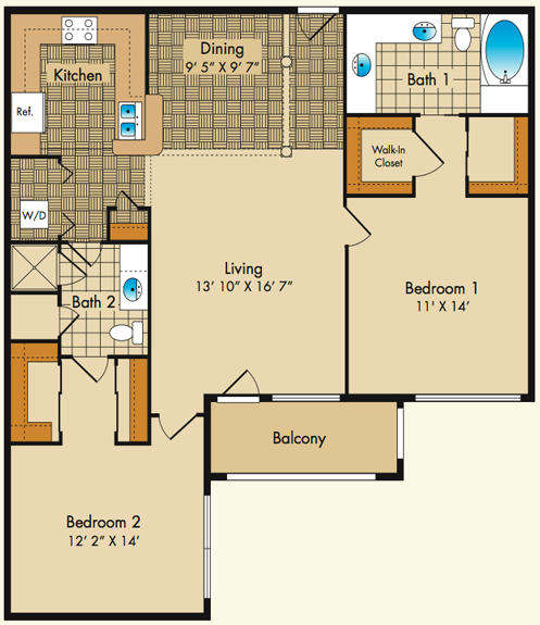Plan F1 Dobson Mills Apartments