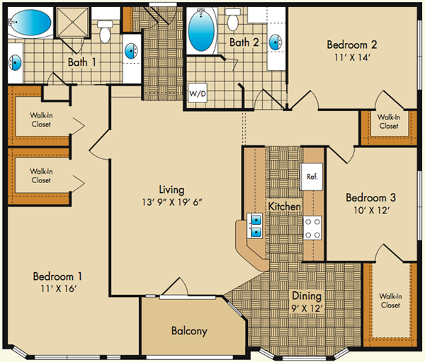 Floor plans dobson mills apartments for Three bedroom apartments in philadelphia